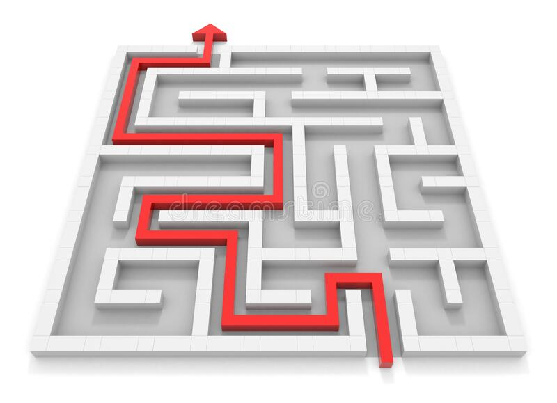 Arrow towards goal. Square maze. White wall. Black and white. 3D rendering. vector illustration
