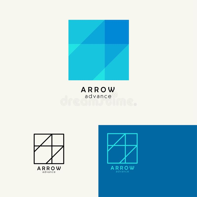 Arrow . Trendy minimalistic template design for logos, emblems, symbols, Icon. Vector elements with business card royalty free illustration