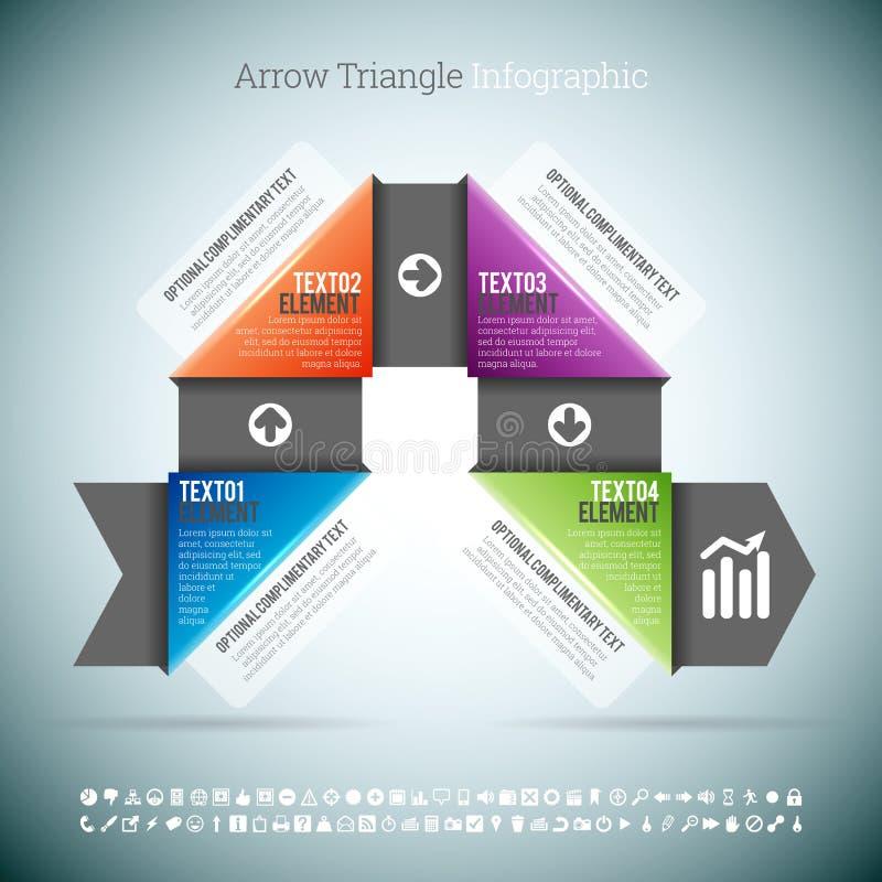 Arrow Triangle Infographic. Vector illustration of arrow triangle infographic elements stock illustration