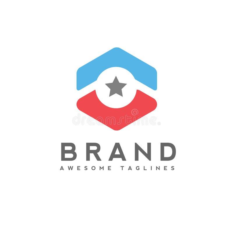 Arrow up circle and star business logo. Hexagon star Technology logo, star logo concept stock illustration