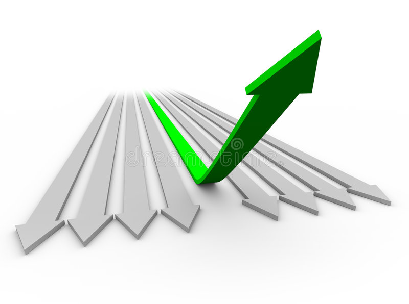 Arrow Up to Success 1. One green arrow rises up from a series of flat arrows vector illustration