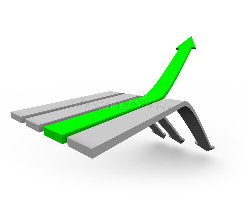 Arrow Up to Success 2. One green arrow rises up from a series of arrows heading downward royalty free illustration