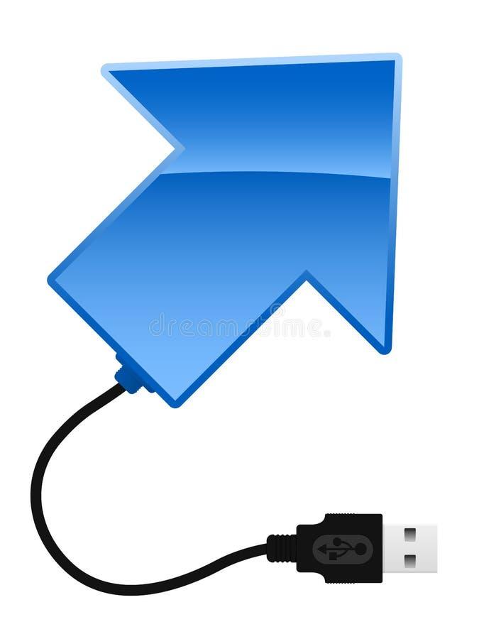 Arrow with USB cable. Blue arrow with USB cable royalty free illustration