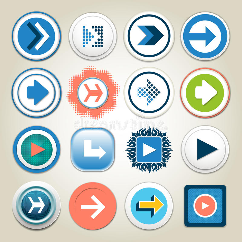 Arrow vector 3d button icon set. Isolated interface line symbol for app, web and music digital illustration design. Application si. Gn element collection. eps 10 vector illustration