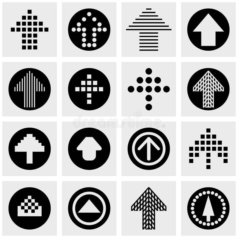 Arrow vector icons set on gray. Arrow icons set on grey background.EPS file available royalty free illustration
