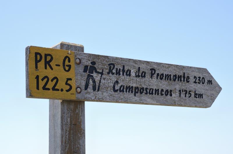 Arrow of the way of Santiago de Compostela. In the mountain of Santa Tecla in Galicia, Spain stock photos