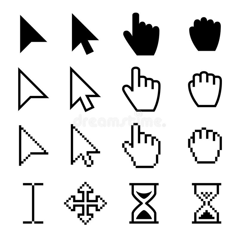 Arrow web cursors, digital hand pointers vector black pictograms royalty free illustration