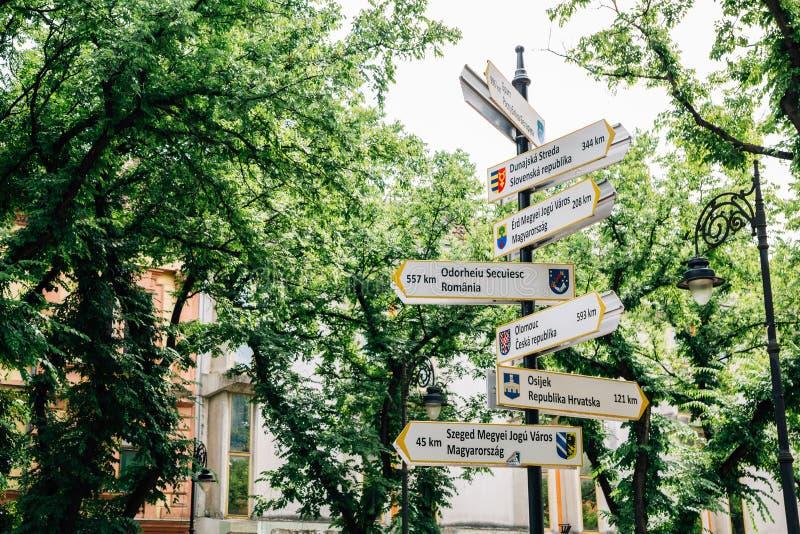 Arrow world Landmarks signpost in Subotica, Serbia. Europe stock photos