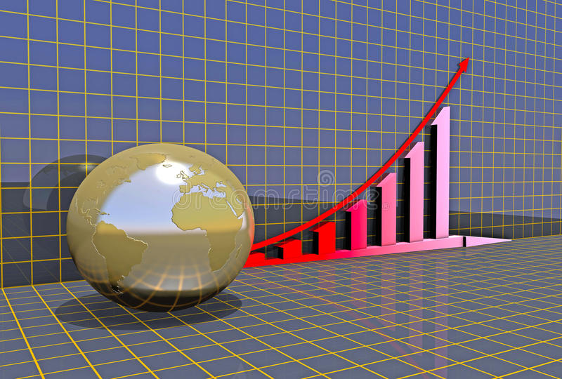 Arrowed business chart over grid. Arrowed business chart and globe over grid stock illustration