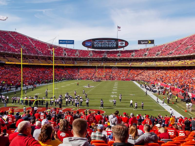 Arrowhead Stadium Kansas City. In stadium shot if the home of the KC Chiefs, Arrowhead Stadium. Loudest stadium in the world. Look at the sea of red. Taken royalty free stock photography