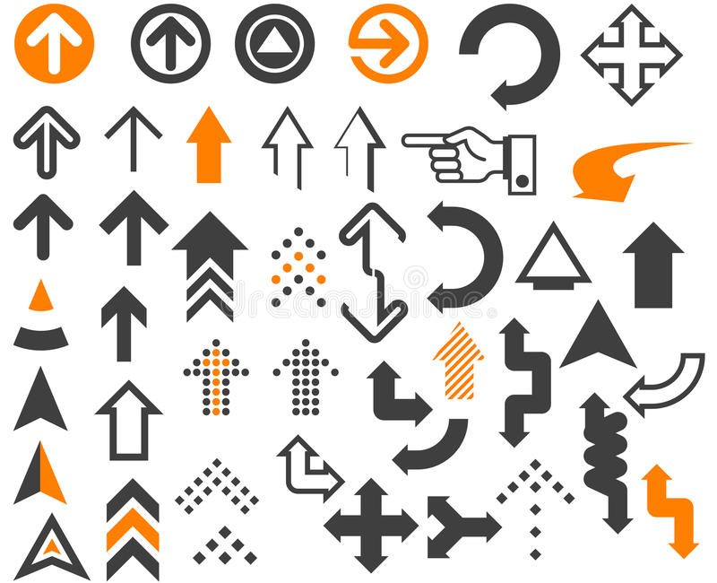 Arrows. In different styles and shapes on the white