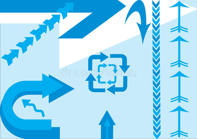 Arrows. Illustration with different blue and white arrows vector illustration