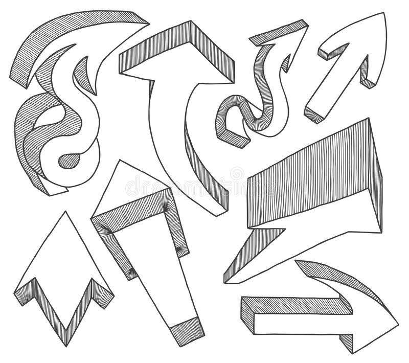 Arrows. Hand drawn in the set, in the vector illustration