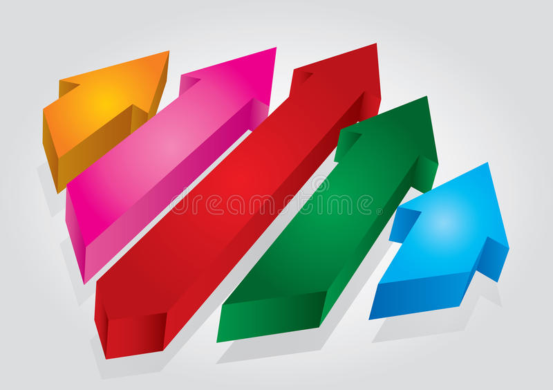 Arrows. Abstract proces concept on white grea royalty free illustration