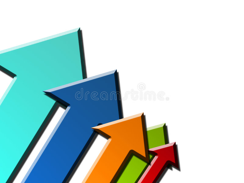 Arrows. Color arrows, dynamic background success royalty free illustration