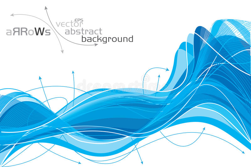 Background of complex blue waves royalty free illustration