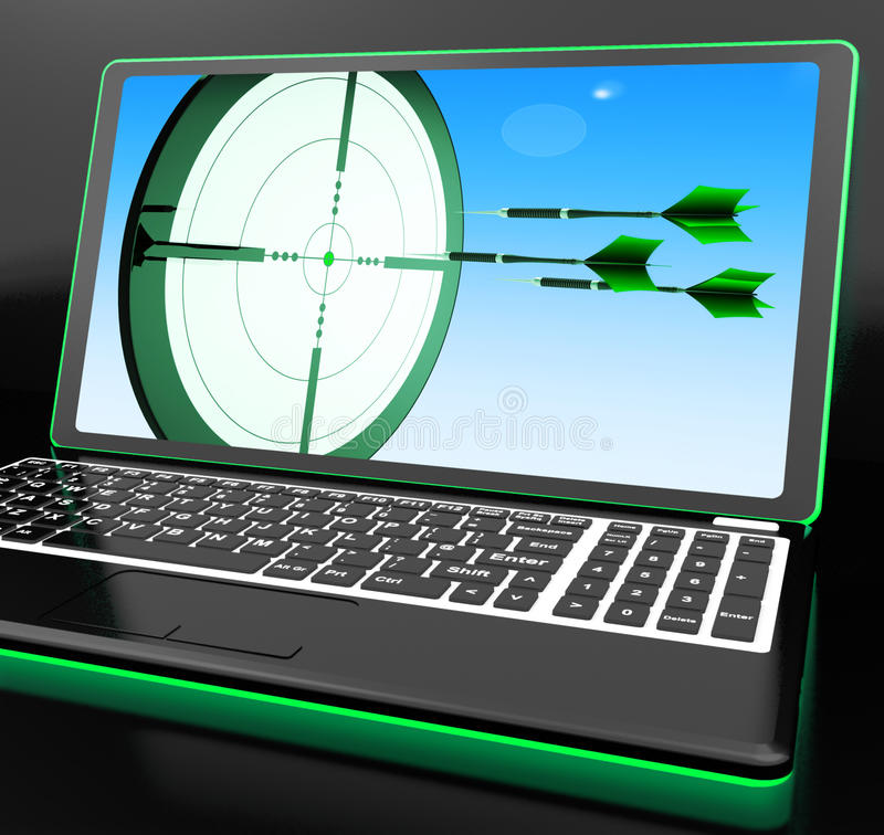 Arrows Aiming On Laptop Showing Extreme Accuracy royalty free illustration