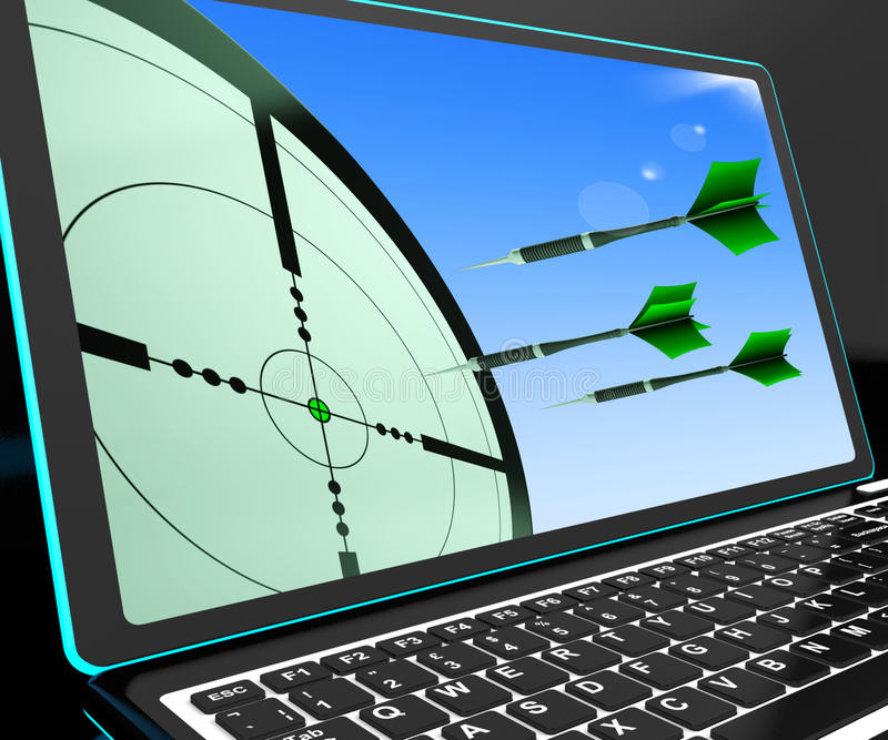 Arrows Aiming On Laptop Shows Perfect Strategies stock illustration