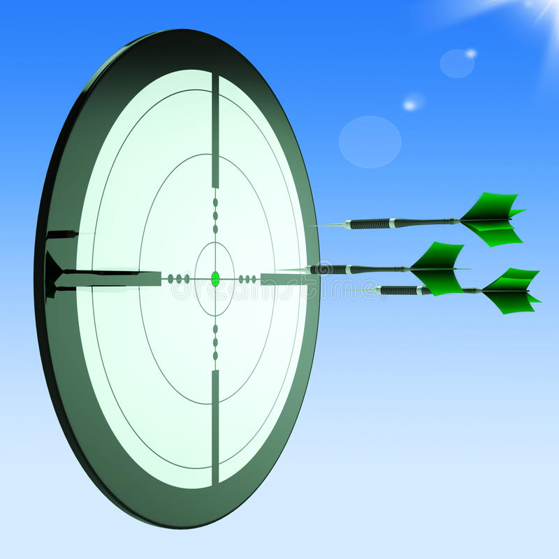 Arrows Aiming Target Shows Perfect Performance royalty free illustration