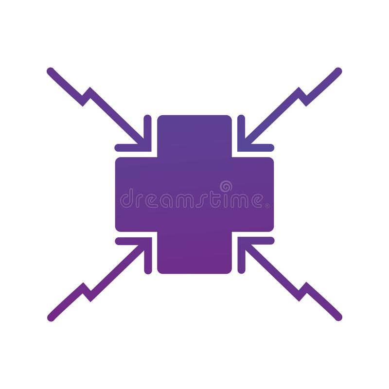 4 arrows aiming to the cross center icon. . Direction arrows. Vector illustration isolated on white background vector illustration