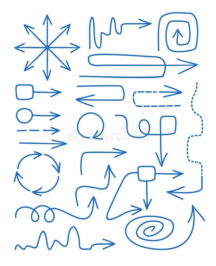 Arrows, blue, hand-drawn, fine, straight, rotation, spiral, circular, infographics. stock illustration