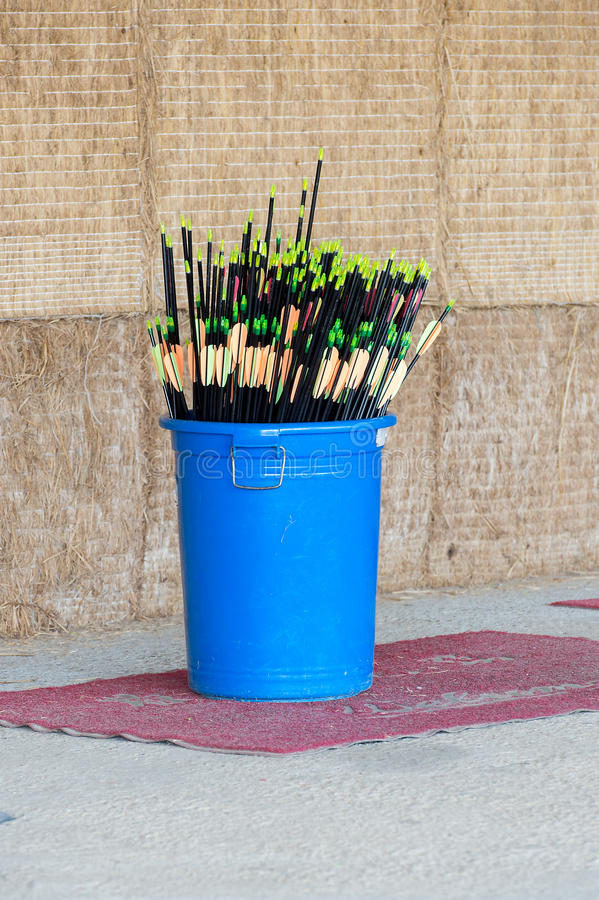 Arrows. In a blue plastic barrels royalty free stock image