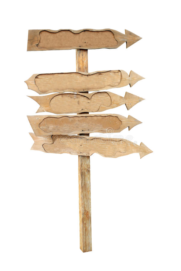 Download The Arrows Of The Boards On A Wooden Post. Stock Image - Image: 26403791