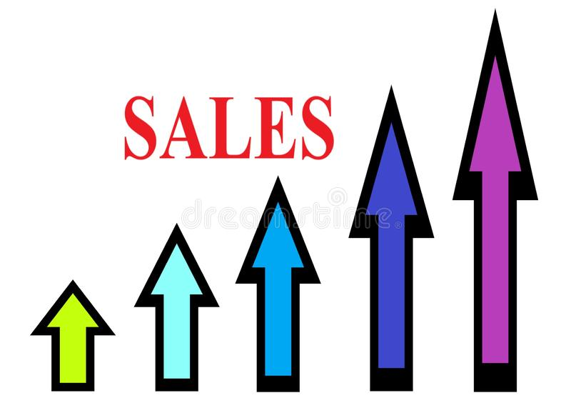 Arrows with bold black outlines and multiple colors of different sizes pointing upwards and the word sales in red stock photo