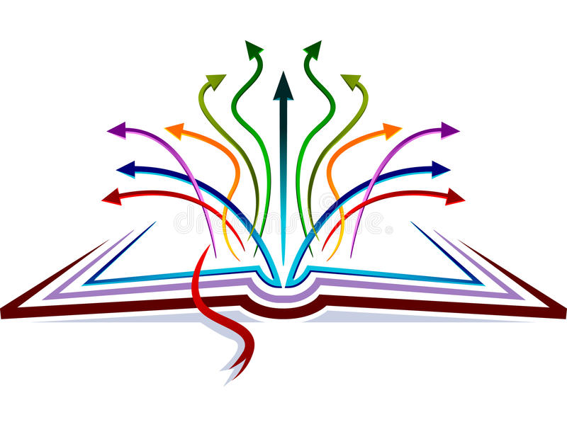 Arrows on book. Abstract design of arrows on book stock illustration