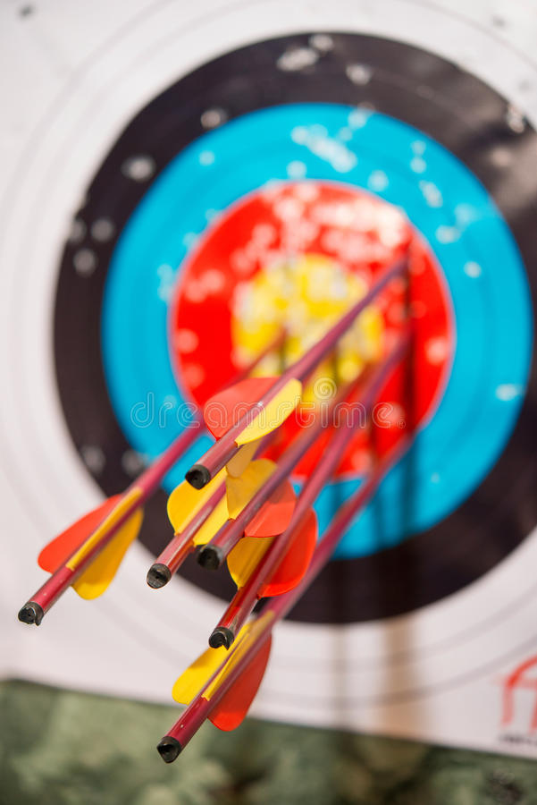 Arrows from a bow accurately hit target. Arrows from a bow accurately hit the target royalty free stock photo