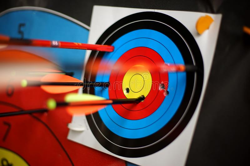 Arrows from a bow accurately hit the target-2. Arrows from a bow accurately hit the target. Clouse-up stock photos