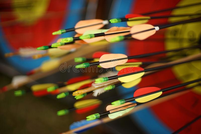 Arrows from a bow accurately hit the target. Clouse-up royalty free stock image