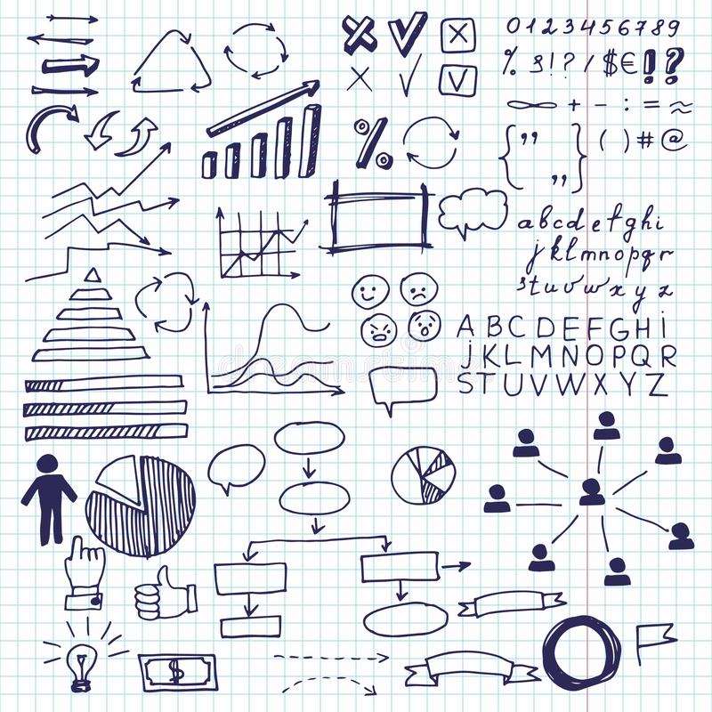 Arrows and business elements, info graphic. Set of doodle business charts info graphics elements on a sheet in a cage stock illustration