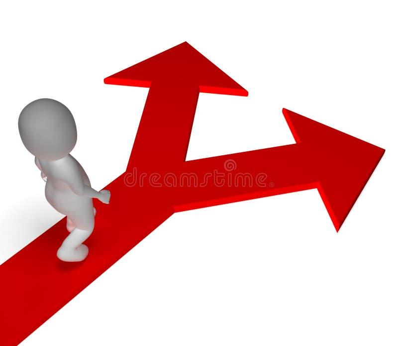 Arrows Choice Shows Options Alternatives Or Choosing Stock