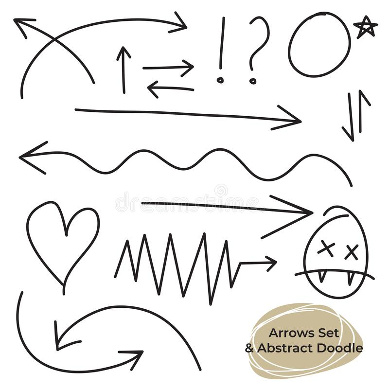 Arrows circles and abstract doodle writing design vector set royalty free illustration