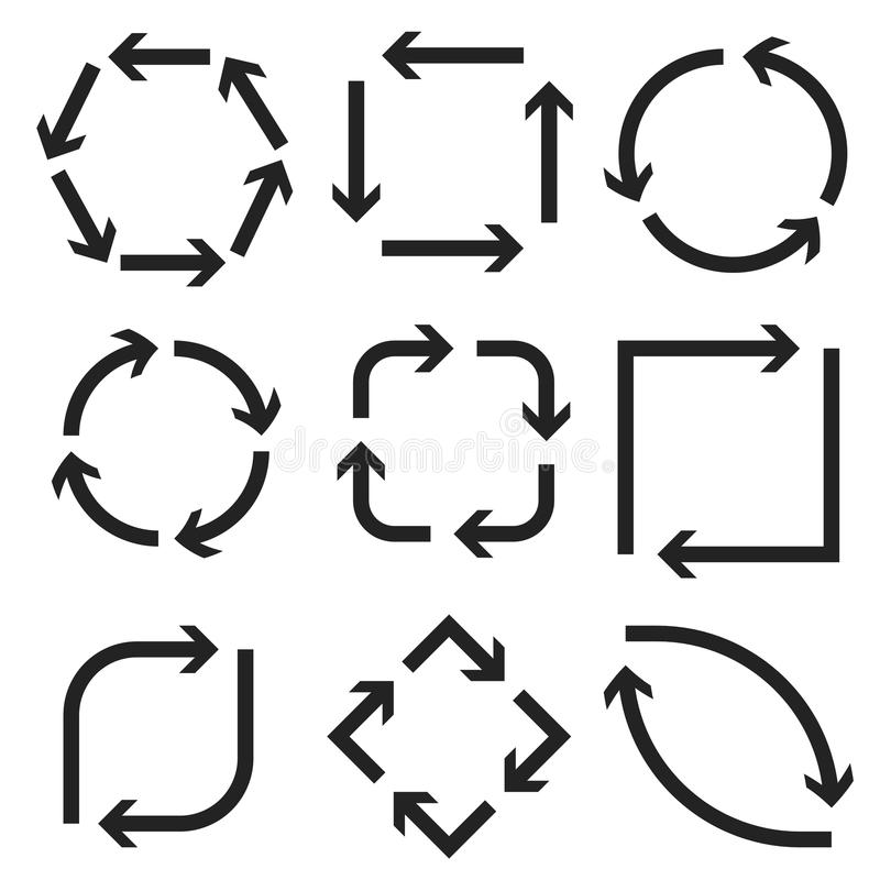 Arrows in circular motion. Round, square, oval combinations stock illustration
