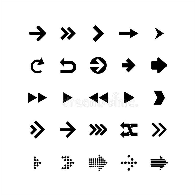Arrows collection. Black arrow direction signs forward and down for navigation or web download button isolated vector narrow, righ royalty free illustration