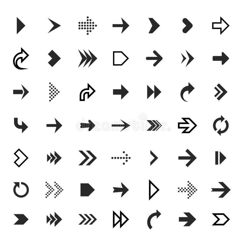 Arrows collection. Black arrow direction signs forward and down for navigation or web download button isolated vector stock illustration