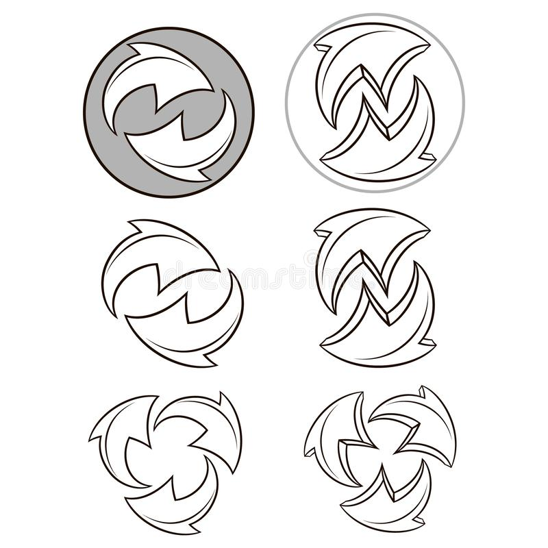 Arrows cycle.Vector icons set collection. Vector black symbols isolated on white background. Arrows cycle.Vector icons set collection.Vector black symbols stock illustration