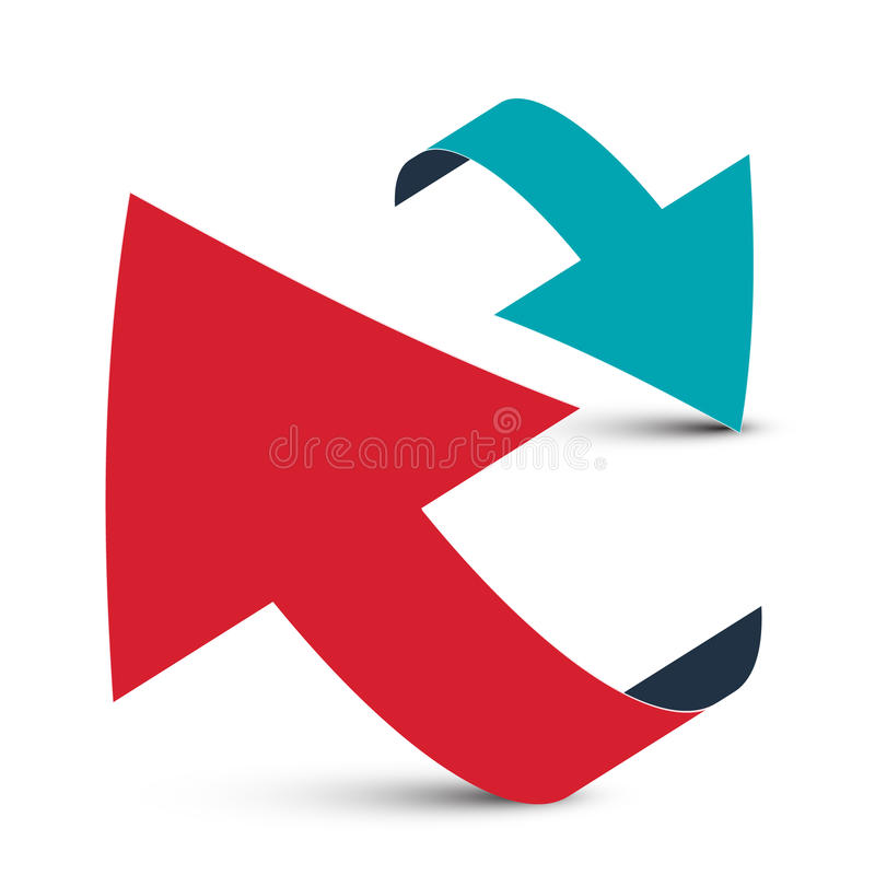 Arrows - 3D Red and Blue Arrows. Arrows - 3D Red and Blue Arrow Logo Design Isolated on White Background vector illustration