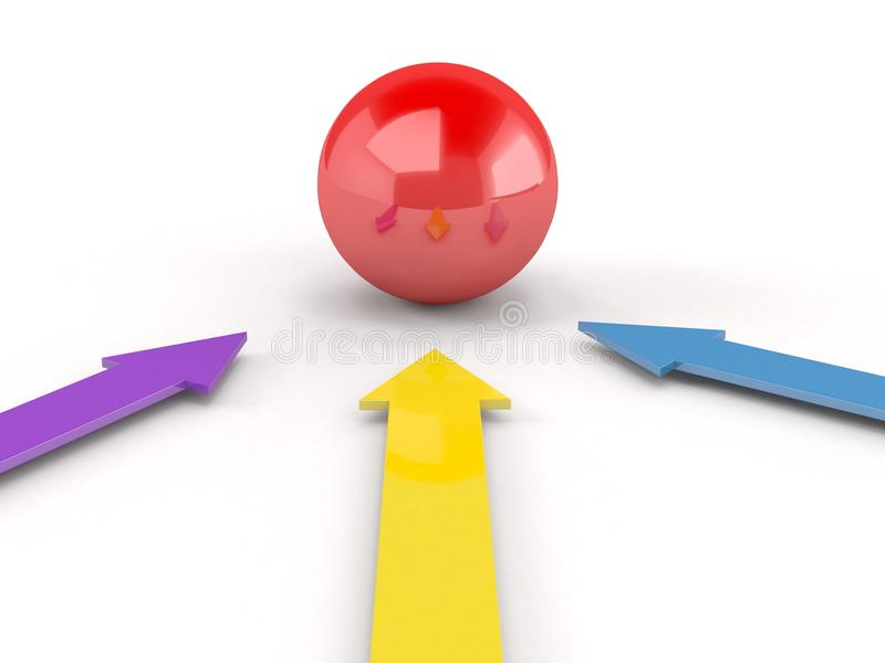 Download Arrows In Direction Of  Ball Stock Illustration - Image: 13736192