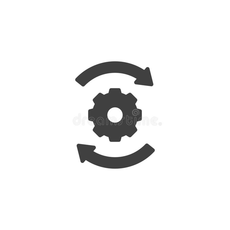 Arrows and gears vector icon stock illustration