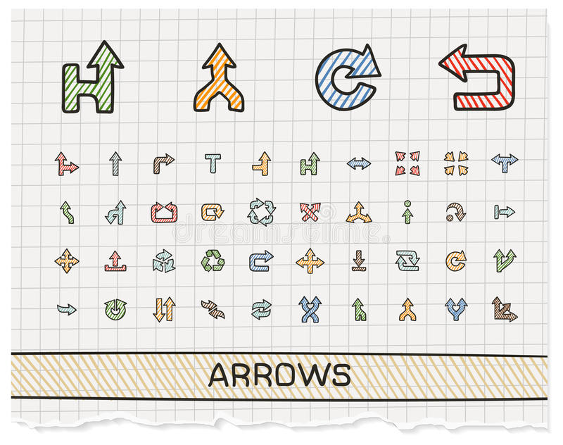 Arrows hand drawing line icons stock illustration