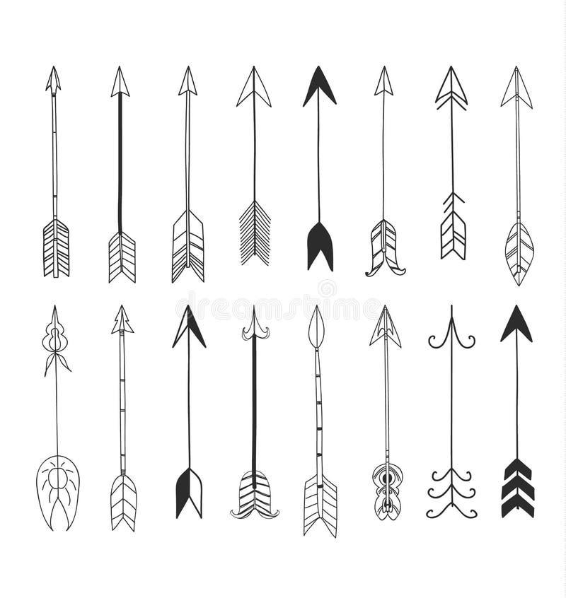 Arrows hand drawn cute line art vector set illustration stock illustration