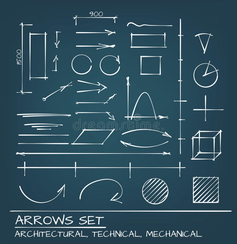 Arrows Hand Drawn Set. Architectural, Techical and Engeneering Arrows. Hand Drawn Set stock illustration
