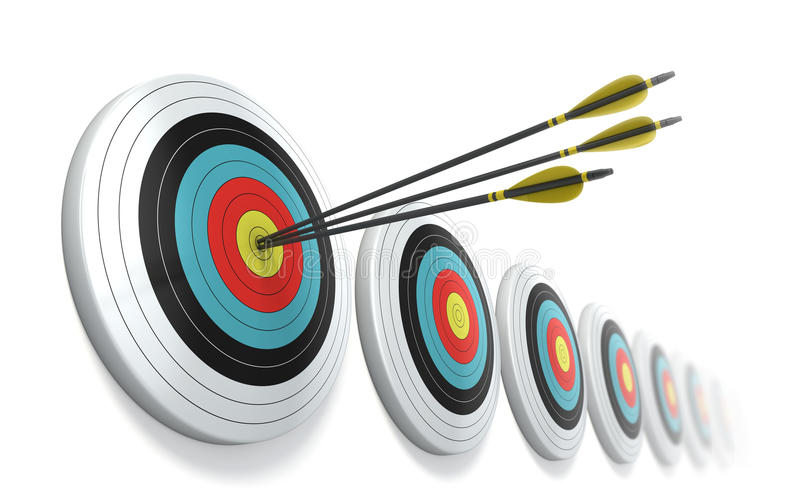 Arrows hitting the center of target stock illustration