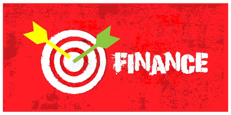 Arrows hitting the center of target on grunge background. Vector illustration concept for Success finance stock illustration