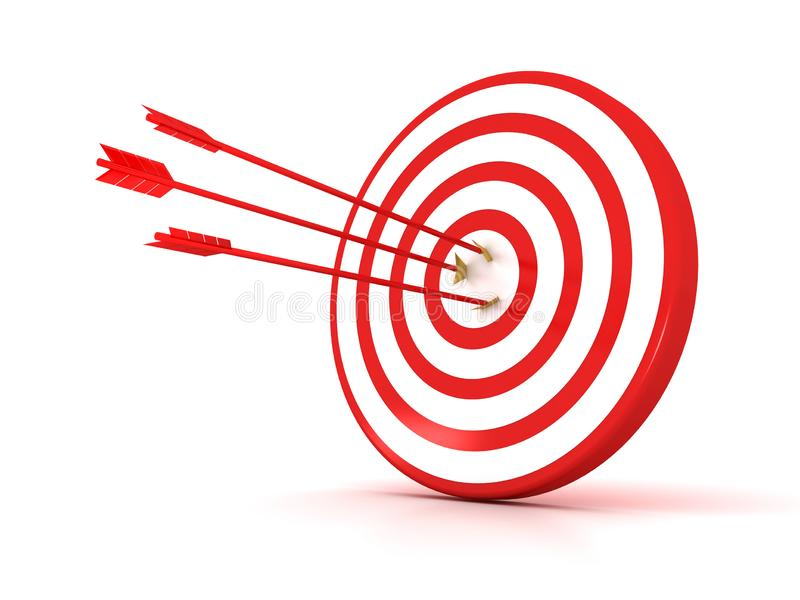 Arrows hitting the center of target - success business concept stock illustration