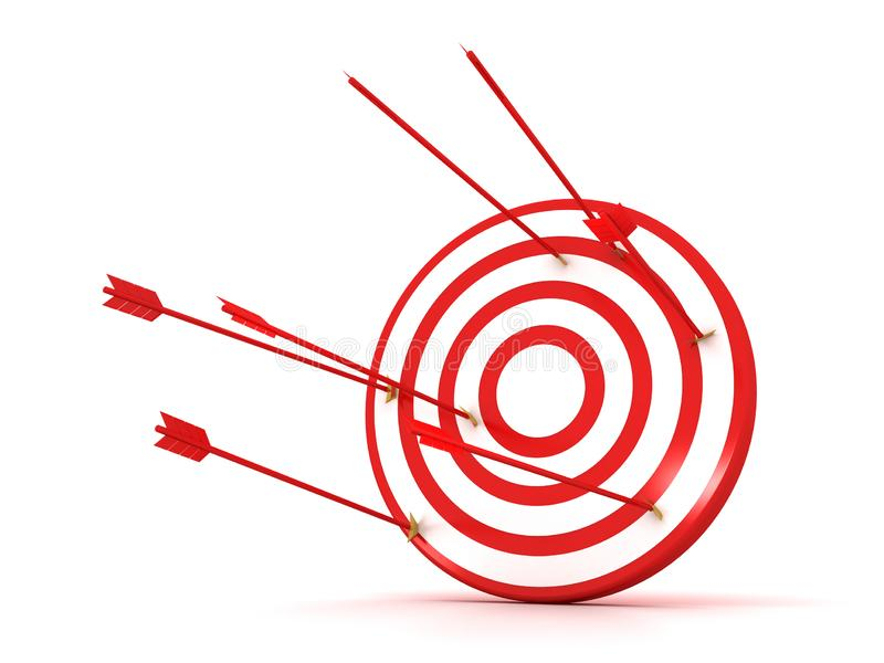 Arrows hitting the center of target - success business concept vector illustration