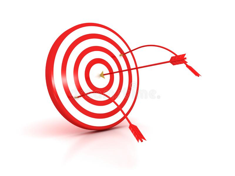 Arrows hitting the center of target - success business concept royalty free illustration